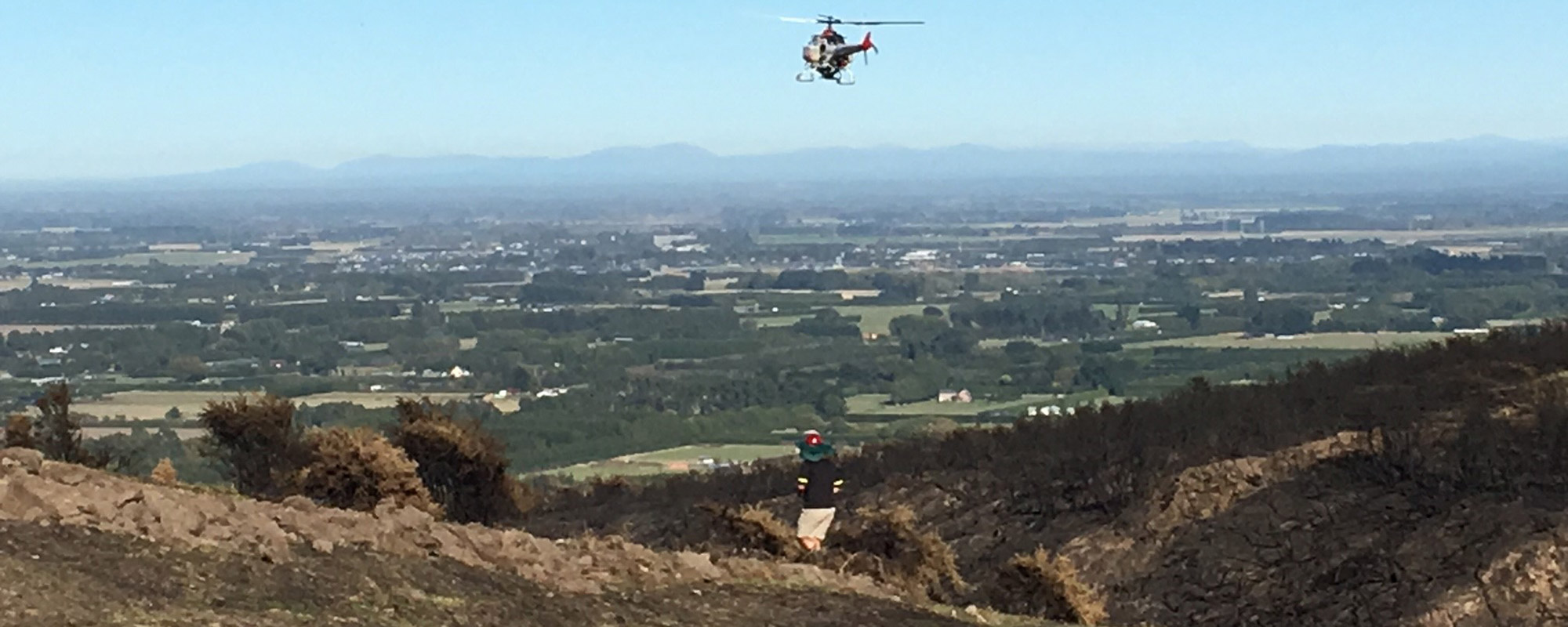 Drone re-seeding the Port Hills near Christchurch after fires