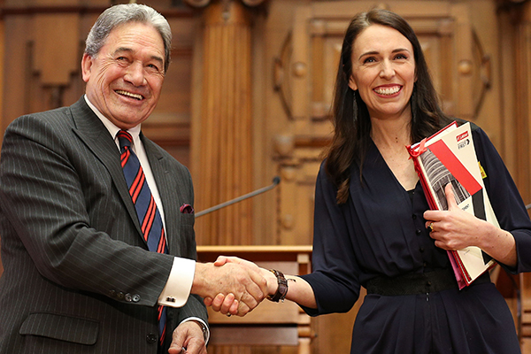 Jacinda Adern and Winston Peters