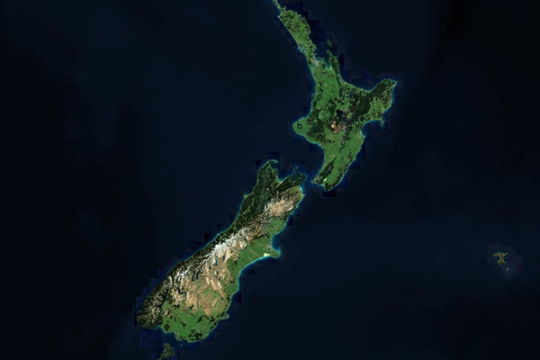 a satellite image of New Zealand