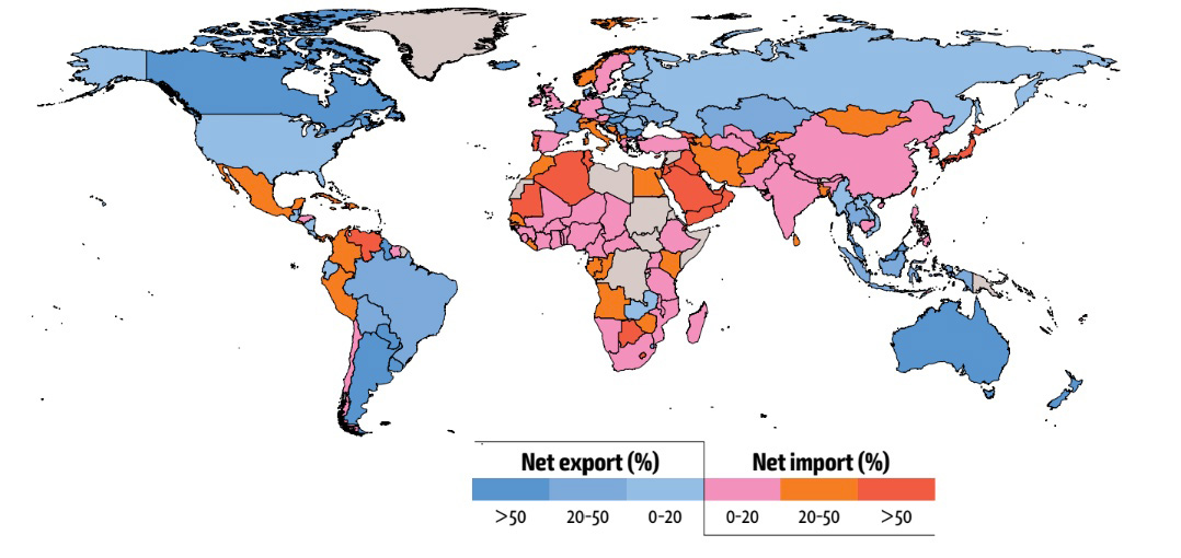 Percentage of net food imports in domestic food supply in total calories